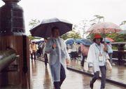 雨でも大勢の参拝者