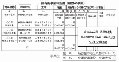 一括有期事業報告書(建設の事業)
